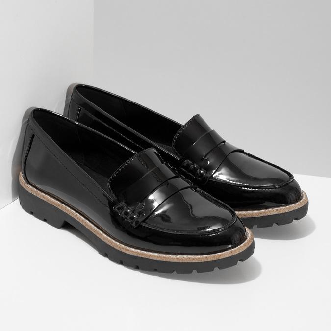 Dámské černé mokasíny lakované bata, černá, 551-6601 - 26