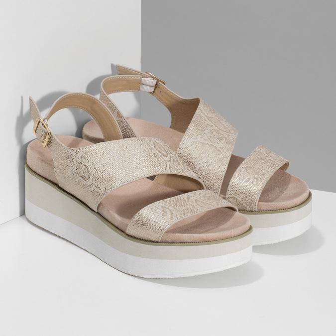Béžové dámské sandály na platformě bata, zlatá, 561-1631 - 26