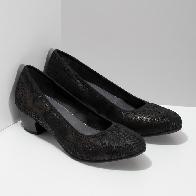Dámské lodičky s metalickým vzorem bata, černá, 629-6601 - 26
