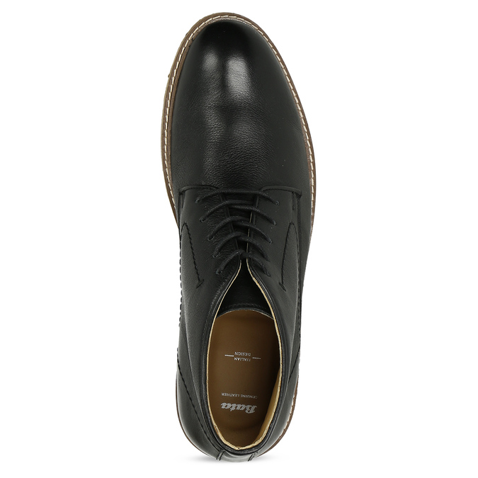 Černá pánská kožená kotníčková obuv bata, černá, 824-6685 - 17