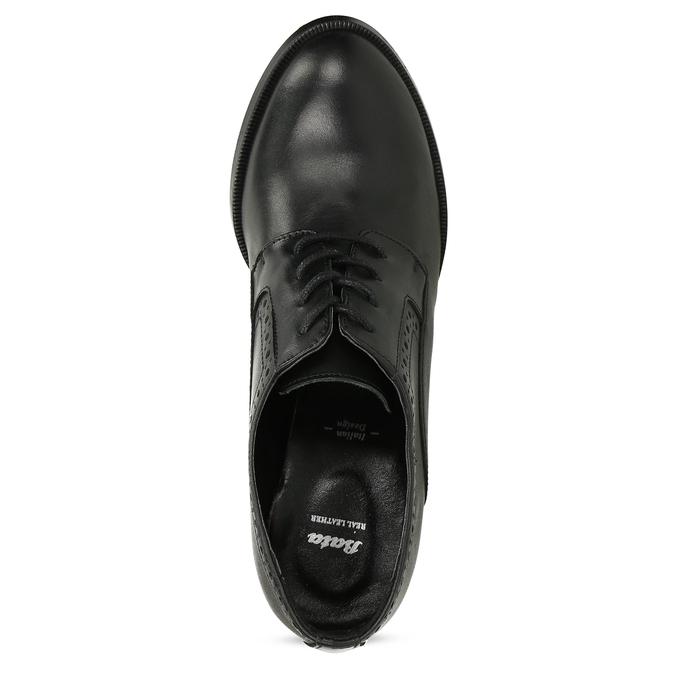 Kotníčkové kožené kozačky na stabilním podpatku bata, černá, 624-6611 - 17