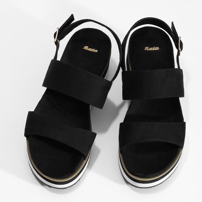Dámské černé sandály na pruhované podešvi bata, černá, 561-6632 - 16