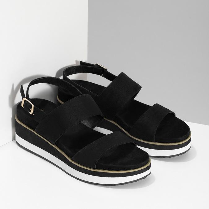 Dámské černé sandály na pruhované podešvi bata, černá, 561-6632 - 26