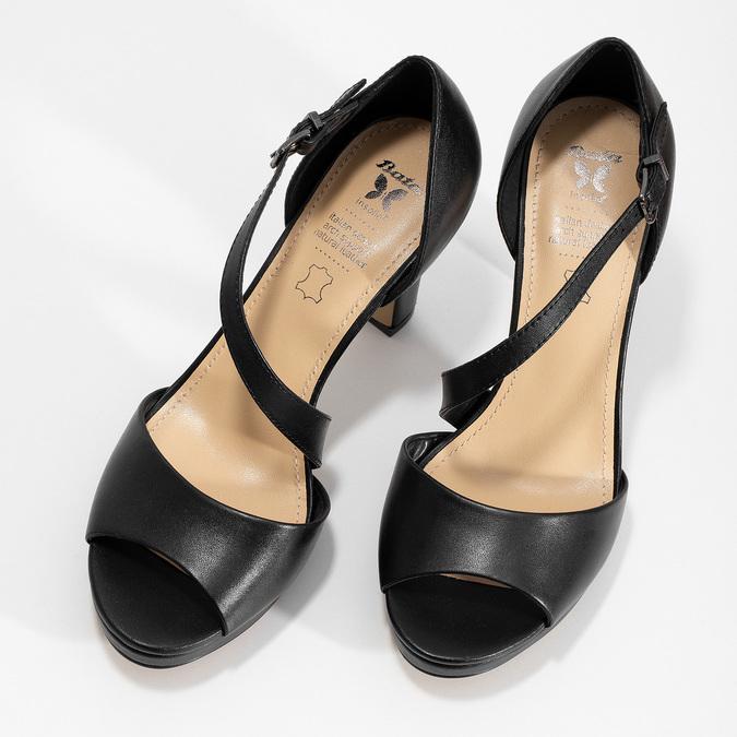 Kožené černé sandály s asymetrickým páskem insolia, černá, 764-6600 - 16