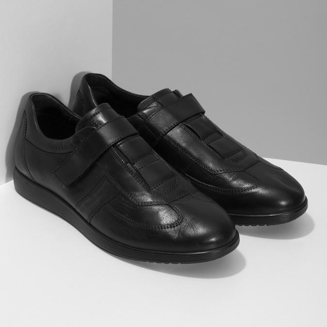 Pánská kožená obuv na suchý zip bata, černá, 824-6666 - 26