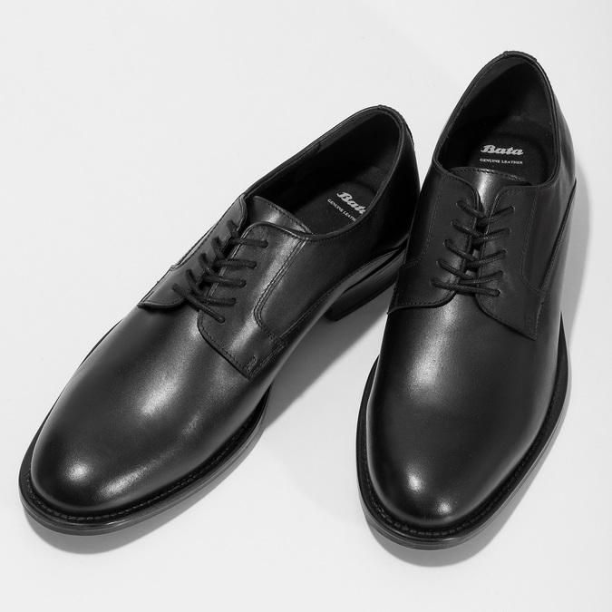 Černé pánské kožené Derby polobotky bata, černá, 824-6920 - 16