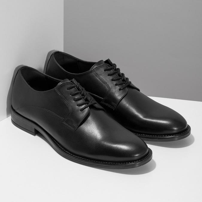 Černé pánské kožené Derby polobotky bata, černá, 824-6920 - 26