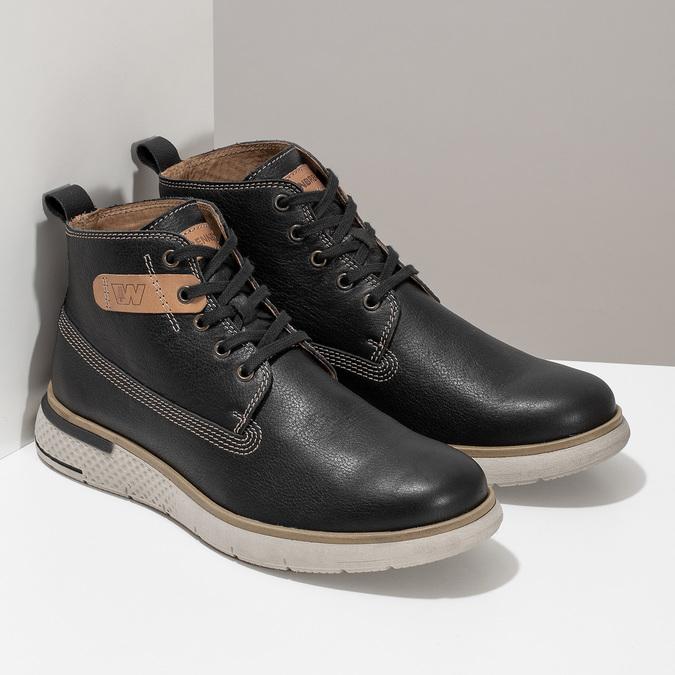 Černá kožená pánská kotníčková obuv weinbrenner, černá, 844-6638 - 26