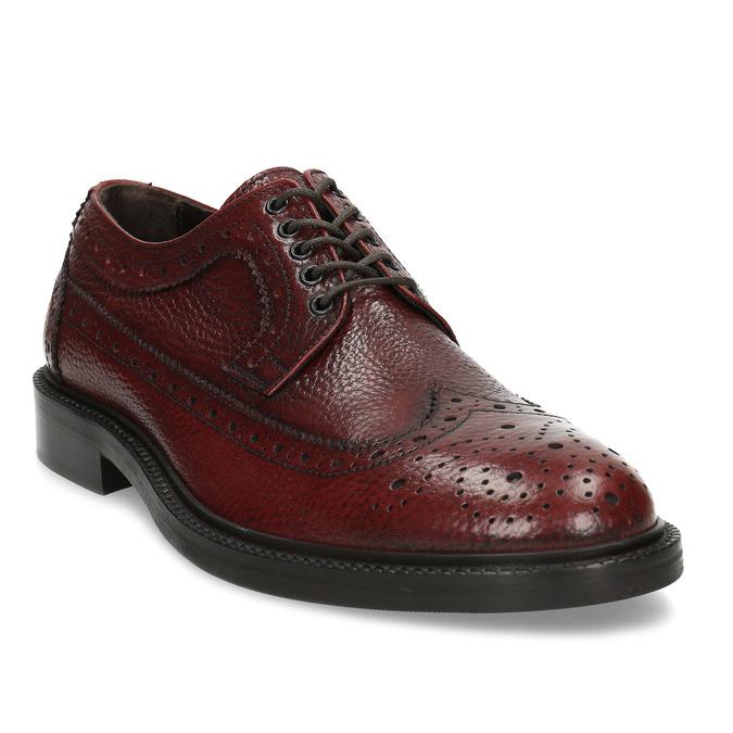 Červené pánské kožené Brogue polobotky bata, červená, 826-5629 - 13