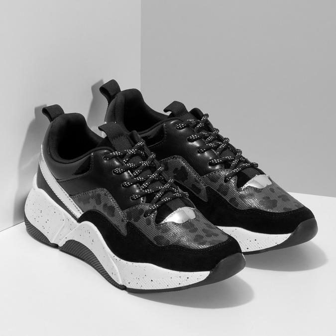 Černé dámské tenisky s masivní podešví bata, černá, 541-6610 - 26