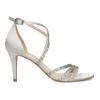 Stříbrné sandály na podpatku s kamínky bata, stříbrná, 729-1609 - 19