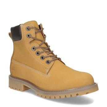 Dámské kožené Worker Boots s prošíváním weinbrenner, žlutá, 596-8603 - 13