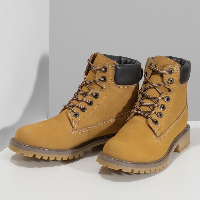 Dámské kožené Worker Boots s prošíváním weinbrenner, žlutá, 596-8603 - 16
