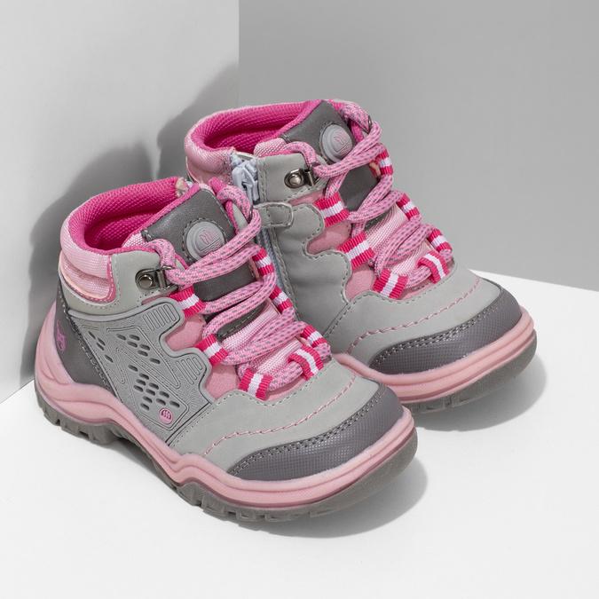 Šedá dětská kotníčková obuv s růžovými detaily bubblegummers, šedá, 121-2720 - 26
