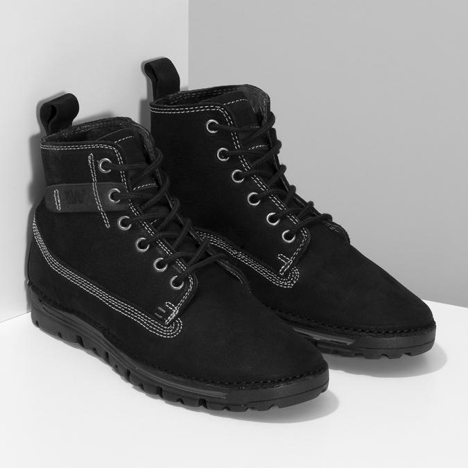 Kotníčkové kožená obuv s kontrastním prošitím weinbrenner, černá, 596-6602 - 26