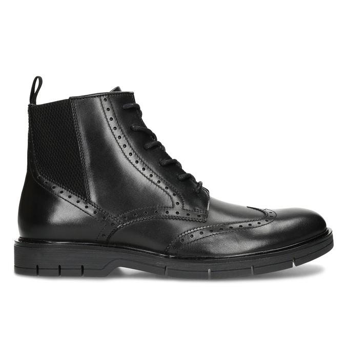 Kotníčková kožená obuv s Brogue zdobením flexible, černá, 894-6742 - 19