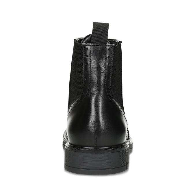 Kotníčková kožená obuv s Brogue zdobením flexible, černá, 894-6742 - 15