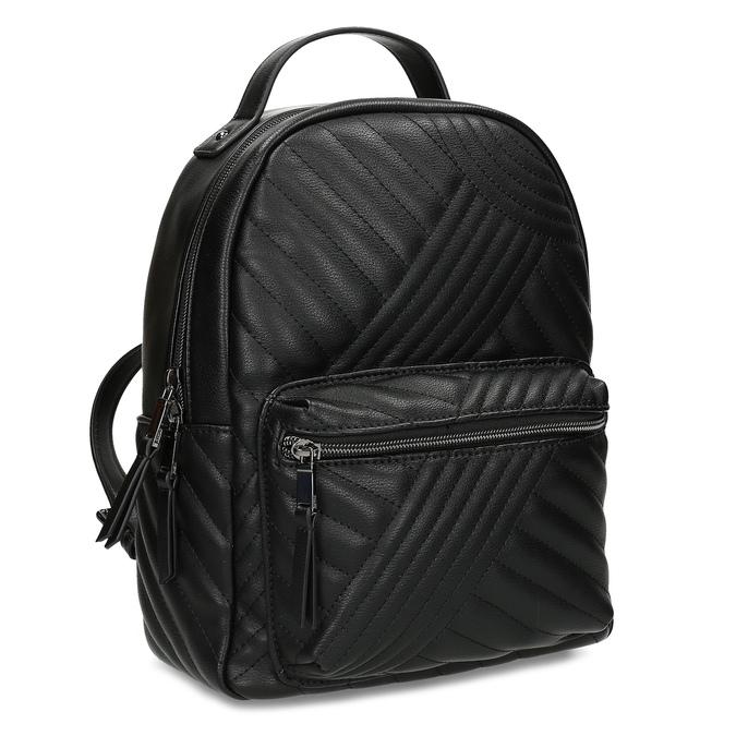 Dámský černý batoh s prošitím bata, černá, 961-6996 - 13
