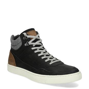 Černé pánské kotníčkové kožené tenisky bata, černá, 846-6881 - 13