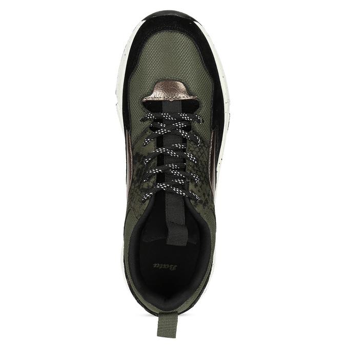 Zelené dámské tenisky s masivní podešví bata, zelená, 541-7610 - 17