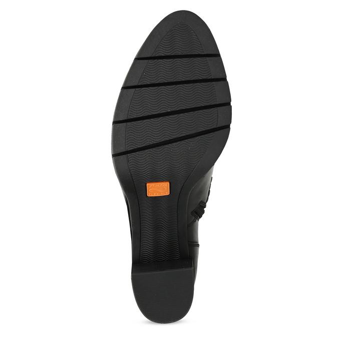 Kožené černé kotníčkové kozačky na podpatku flexible, černá, 794-6607 - 18