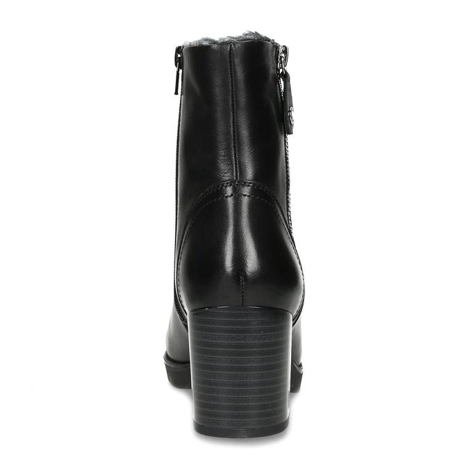 Černé kožené kozačky se zateplením flexible, černá, 694-6610 - 15