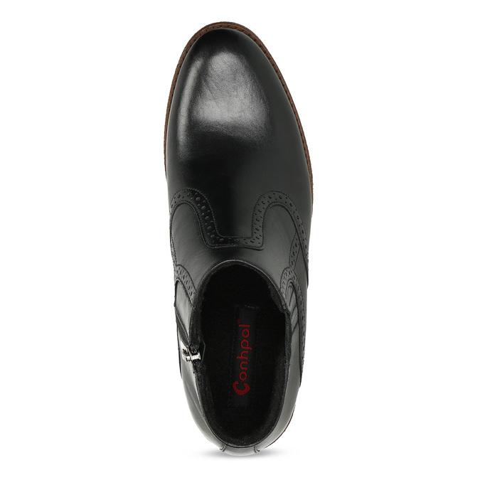 Pánská černá kožená kotníčková obuv conhpol, černá, 894-6602 - 17