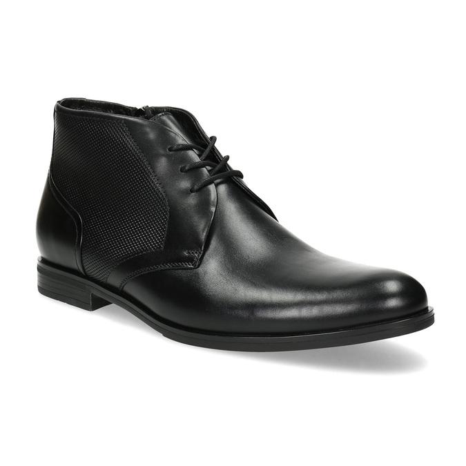 Pánská kožená kotníčková obuv se strukturou conhpol, černá, 894-6605 - 13