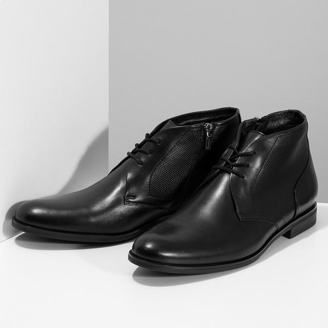Pánská kožená kotníčková obuv se strukturou conhpol, černá, 894-6605 - 16