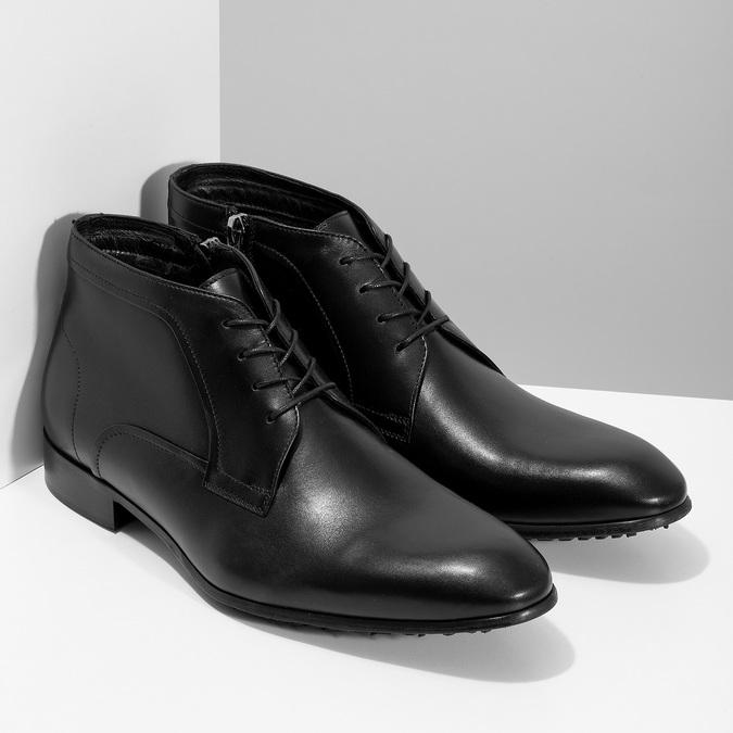 Černá pánská kožená kotníčková obuv conhpol, černá, 894-6603 - 26