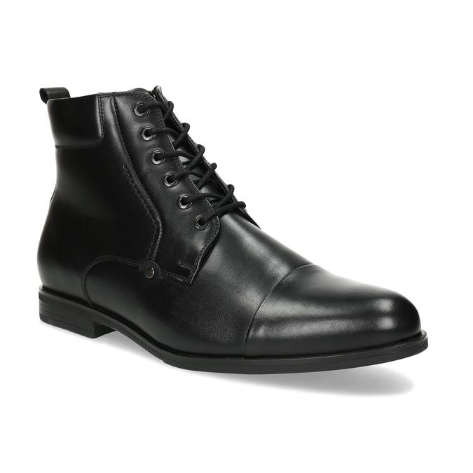 Kotníčková pánská černá kožená obuv conhpol, černá, 894-6604 - 13
