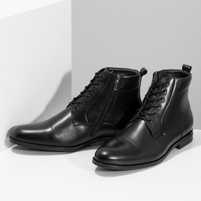 Kotníčková pánská černá kožená obuv conhpol, černá, 894-6604 - 16