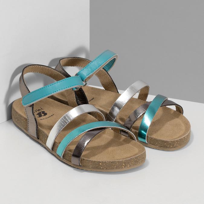 Páskové dívčí sandály kožené mini-b, tyrkysová, 466-7611 - 26