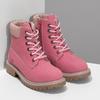 Dětské růžové kožené Worker Boots weinbrenner, růžová, 296-5604 - 26