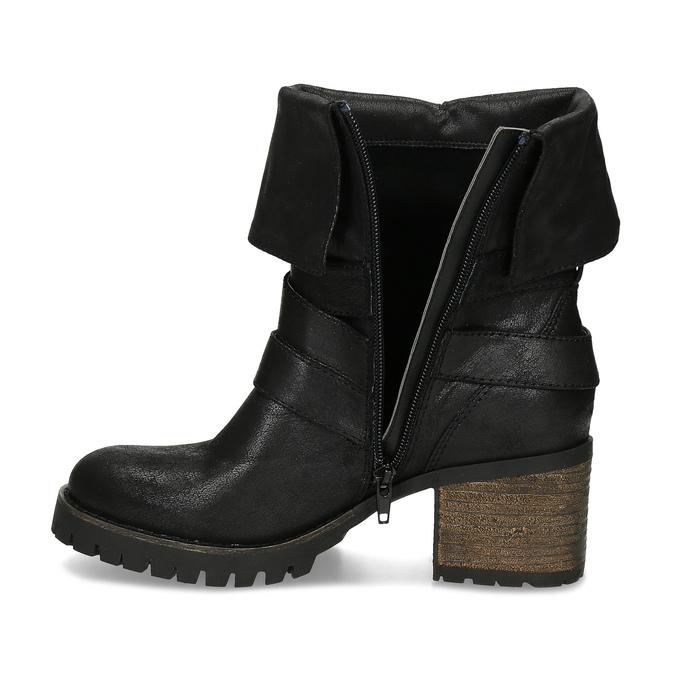 Černé dámské kozačky s přezkami bata, černá, 691-6607 - 17