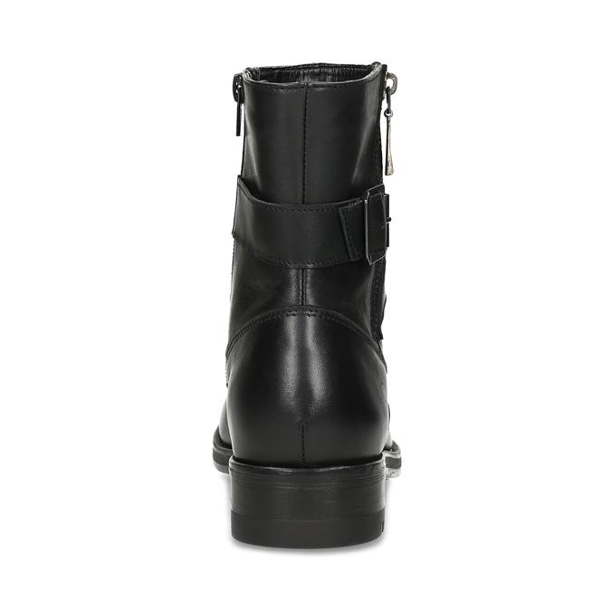 Kožené černé kotníčkové kozačky s přezkou bata, černá, 594-6683 - 15
