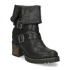 Černé dámské kozačky s přezkami bata, černá, 691-6607 - 13