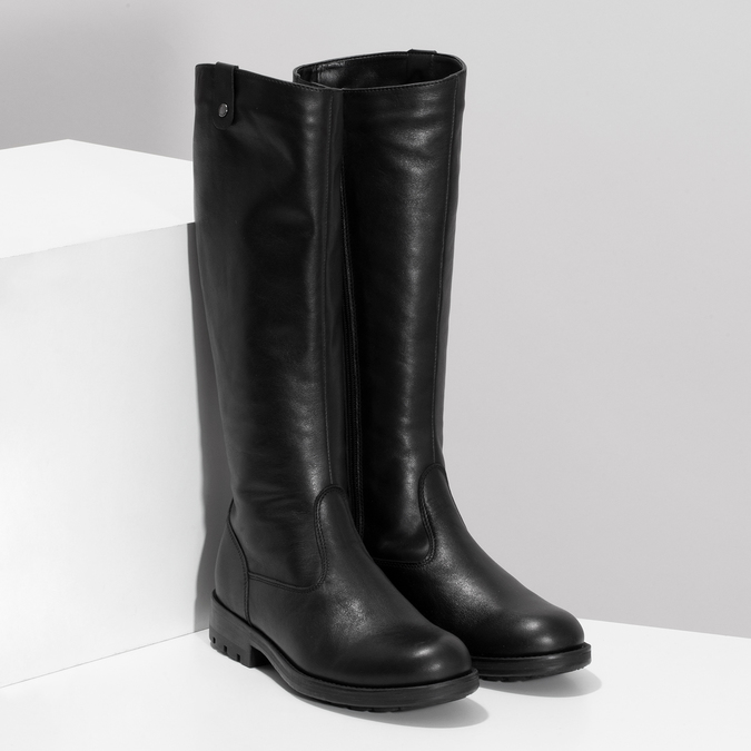 Černé dámské kožené kozačky bata, černá, 594-6689 - 26
