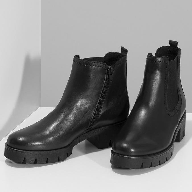 Dámské černé kožené Chelsea kozačky gabor, černá, 594-6218 - 16