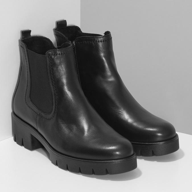 Dámské černé kožené Chelsea kozačky gabor, černá, 594-6218 - 26
