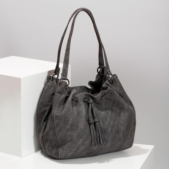 Dámská šedá kabelka se střapci gabor, šedá, 961-2106 - 17