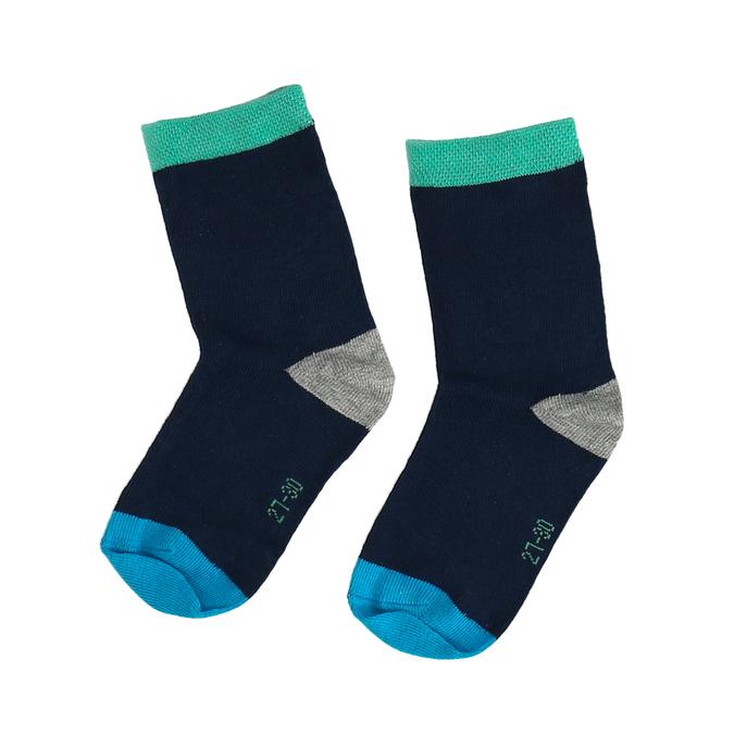 Modré dětské ponožky s barevnými detaily bata, zelená, 919-7685 - 26