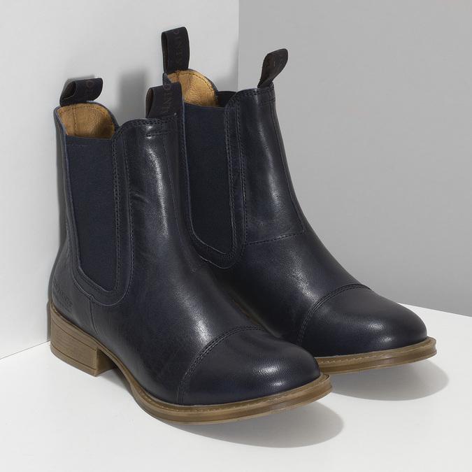 Tmavě modrá kožená dámská Chelsea obuv ten-points, modrá, 596-9557 - 26