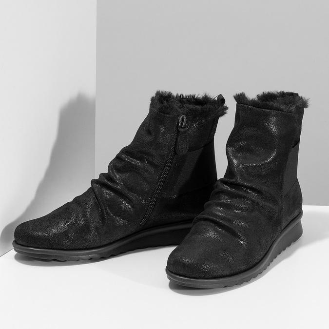 Černé dámské kožené kozačky se třpytkami comfit, černá, 596-6601 - 16