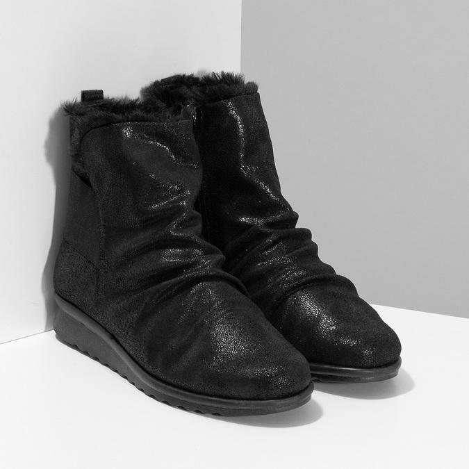 Černé dámské kožené kozačky se třpytkami comfit, černá, 596-6601 - 26