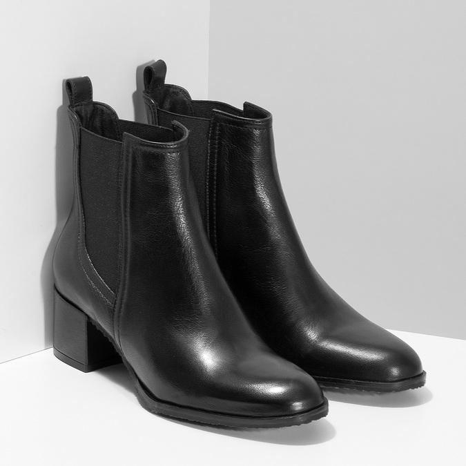 Dámská černá kožená Chelsea obuv bata, černá, 694-6624 - 26