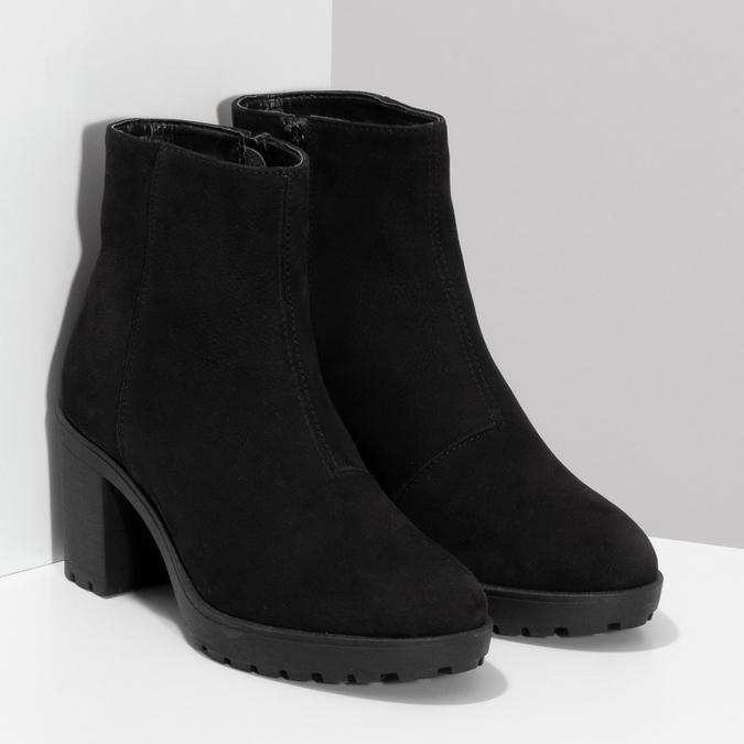 Kotníčkové černé kozačky z broušené kůže bata, černá, 796-6612 - 26