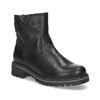 Dětské černá kožená kotníčková obuv s prošitím mini-b, černá, 396-6605 - 13