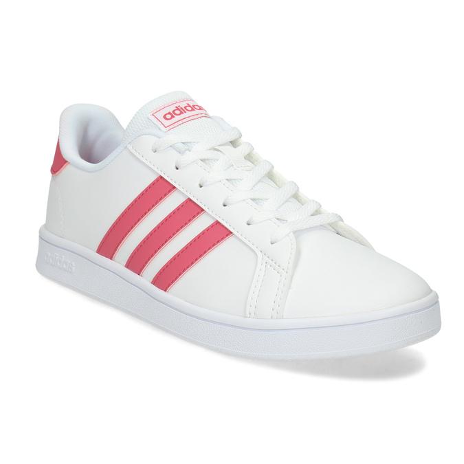Bílé dětské tenisky s růžovými detaily adidas, bílá, 401-1447 - 13