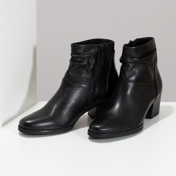 Černé kožené kozačky na stabilním podpatku gabor, černá, 628-6102 - 16